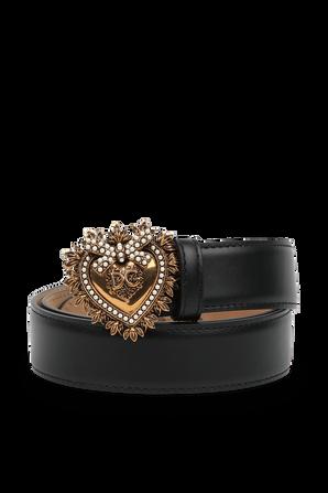 Heart Buckle Leather Belt in Black DOLCE & GABBANA
