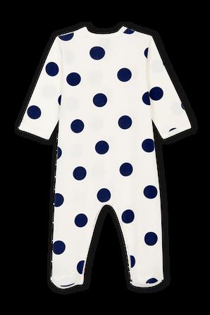 גילאי 1-24 חודשים בגד שינה בלבן עם עגולים שחורים PETIT BATEAU