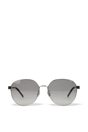 Rounded Metal Sunglasses in Silver SAINT LAURENT