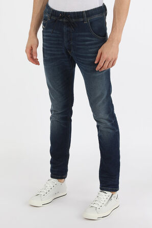 מכנסי סקיני ג'ינס עם שרוכים בשטיפה כחולה DIESEL