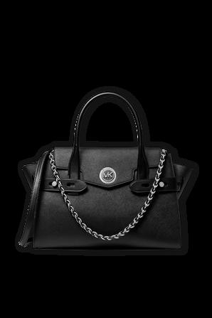Carmen LG Leather Belted Satchel in Black MICHAEL KORS