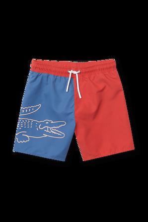 גילאי 4-12 מכנסי בגד ים בכחול ואדום LACOSTE KIDS