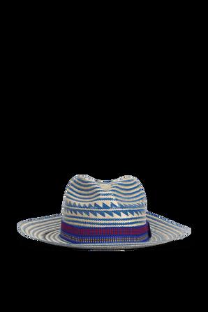 Straw Hat in Brown and Blue YOSUZI