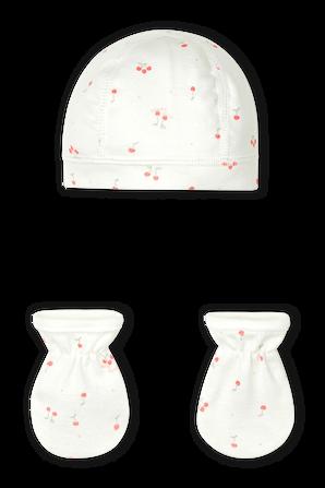 NB-12 חודשים מארז כובע וכפפות בדפוס דובונים PETIT BATEAU