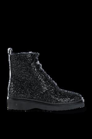 Haskell Glitter Combat Boot in Black MICHAEL KORS
