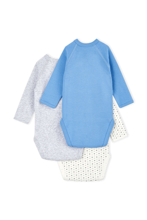 גילאי NB-12 חודשים מארז שלישיית בגדי גוף ארוכים בגוונים שונים PETIT BATEAU