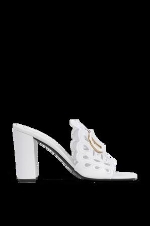 Laser Cut Heel Sandals in White VALENTINO GARAVANI