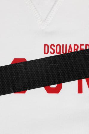 גילאי 4-16 סווטשירט לבן עם כיתוב ממותג על החזית DSQUARED2 KIDS