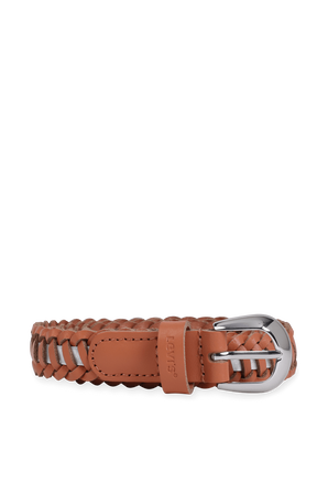 Contrast Braided Belt in Brown and Silver LEVI`S