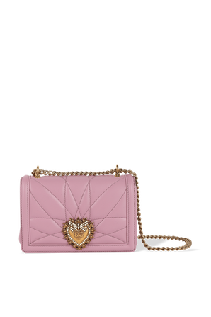 Small Devotion Crossbody Bag in Pink Quilted Nappa Leather DOLCE & GABBANA