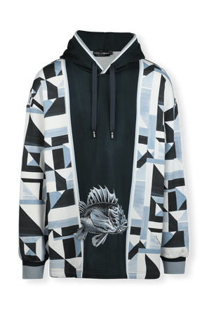 Hoodie With Majolica Print in Blue DOLCE & GABBANA
