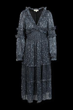 Ruffles Flower Print Midi Dress in Blue MICHAEL KORS