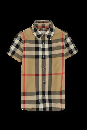גילאי 3-14 חולצה מכופתרת קצרה עם הדפס משבצות BURBERRY