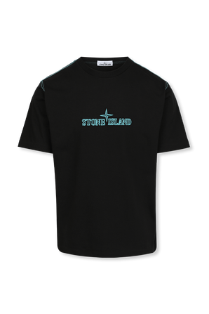 Embroidered Logo T-Shirt in Black STONE ISLAND