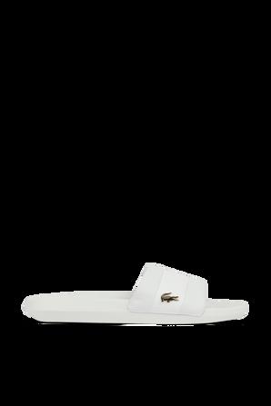 White Croco Rubber Strap Slides LACOSTE