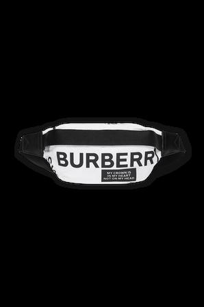 Medium Logo Print Bum Bag in White BURBERRY