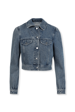 Puff Sleeve Crop Denim Jacket in Mid Wash MICHAEL KORS