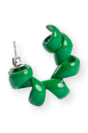 Orencchini Silver Earings in Green BOTTEGA VENETA