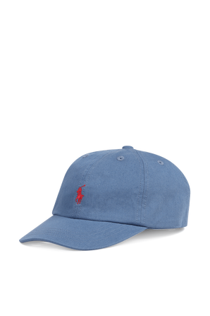 כובע בייסבול עם רקמת פרש בצבע כחול ג'ינס POLO RALPH LAUREN KIDS