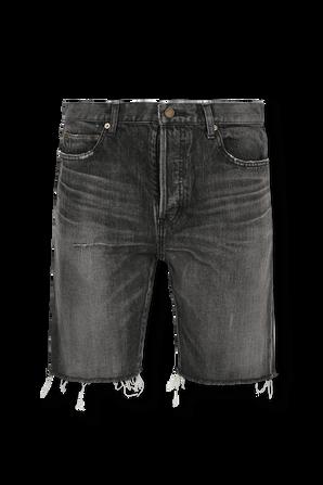 Straight Denim Shorts In Faded Black Wash SAINT LAURENT