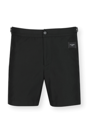 Mid-Length Swim Shorts With Branded Plate in Black DOLCE & GABBANA