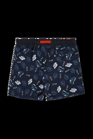 גילאי 10-16 מכנסי בגד ים כוחלים עם סמלים ממותגים FILA
