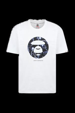 חולצה קצרה עם הדפס ממותג פלאנט בגוון לבן AAPE