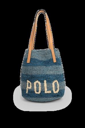 Polo Raffia Medium Tote Bag in Blue POLO RALPH LAUREN
