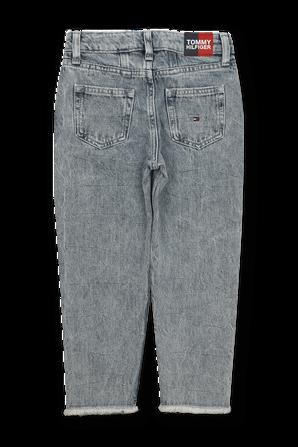 מכנסי דנים בגזרה גבוהה עם שטיפה משופשפת TOMMY HILFIGER KIDS