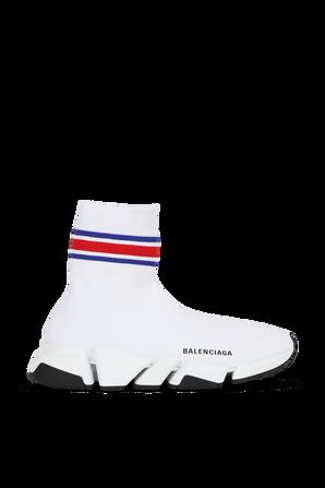 נעלי גרב לבנות עם דוגמ פסים בגווני כחול ואדום BALENCIAGA
