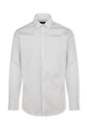 Slim Fit Shirt in White Stretch Poplin BOSS