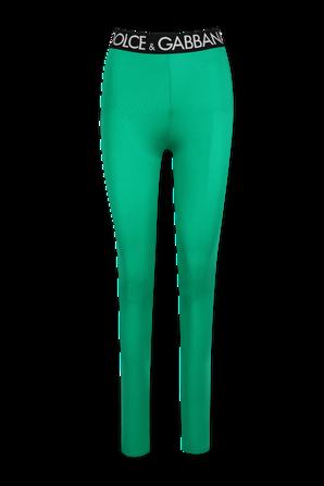 Tight Branded High Waist Leggings in Green DOLCE & GABBANA