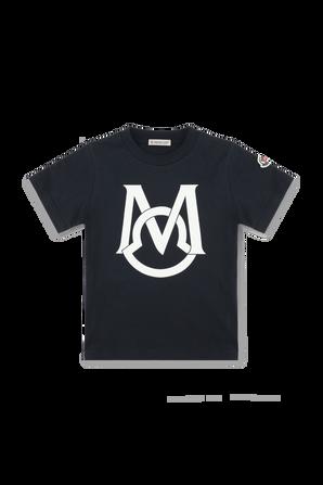 גילאי 4-6 חולצת לוגו בשחור MONCLER KIDS