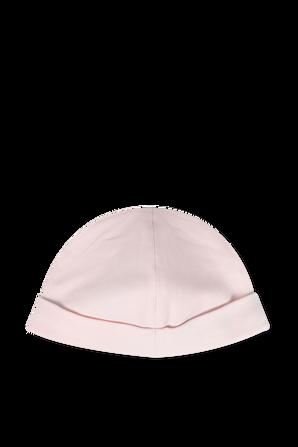 כובע גרב מכותנה בורוד עם לוגו POLO RALPH LAUREN KIDS