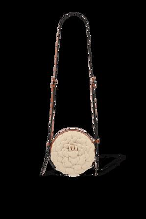 Rose Edition Round Shoulder Bag in Beige VALENTINO GARAVANI