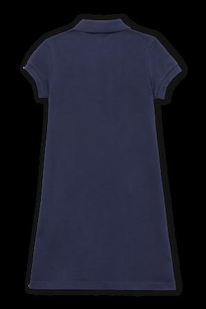 גילאי 2-12 שמלת פולו בנייבי עם כיס ופאצ לוגו בחזה LACOSTE KIDS