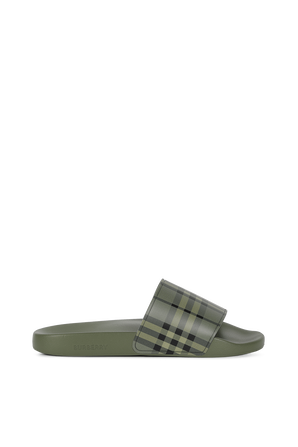 Vintage Check Slides in Green BURBERRY