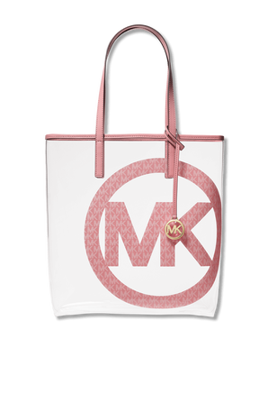 Logo Charm Clear Tote Bag in White and Pink MICHAEL KORS