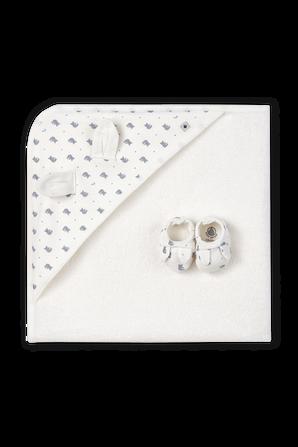 NB-12 חודשים מארז שמיכה ונעלי בית בדפוס דובונים PETIT BATEAU