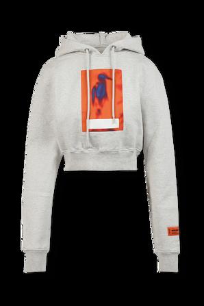 Censored Print Crop Sweatshirt in Grey HERON PRESTON
