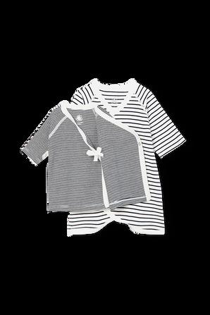 גילאי NB-12 חודשים סט בגד גוף קימונו וחולצה PETIT BATEAU