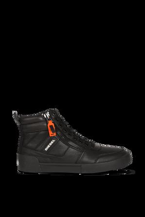 S- Velows Mid Cut Sneakers in Black Leather DIESEL