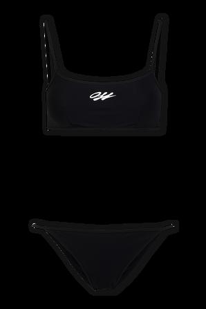Logo Print Bikini Set in Black OFF WHITE