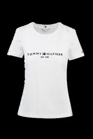 Essential Crew Neck Logo T-Shirt in White TOMMY HILFIGER