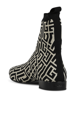 Jacquard Boots in Black and White BALMAIN