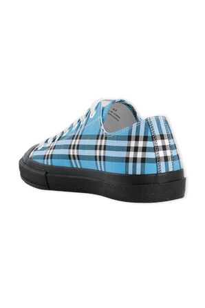 Logo Print Check Cotton Sneakers in Blue Azure BURBERRY