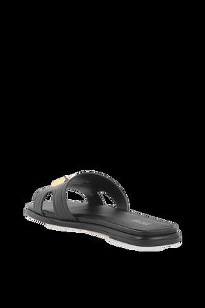 Kippy Embellished Black Leather Slide Sandal MICHAEL KORS