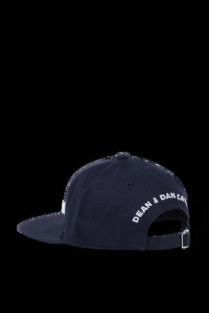 כובע מצחייה כחול עם רקמת לוגו בלבן DSQUARED2 KIDS