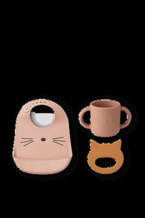 מארז שלושה מוצרים לתינוקות מסיליקון בצורת חתול LIEWOOD