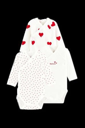 גילאי NB-12 חודשים שלישיית בגדי גוף בפרינט לבבות בגזרת קימונו PETIT BATEAU